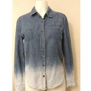Ombré denim button down chambray long sleeve shirt
